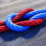 Blue and Red rope knot