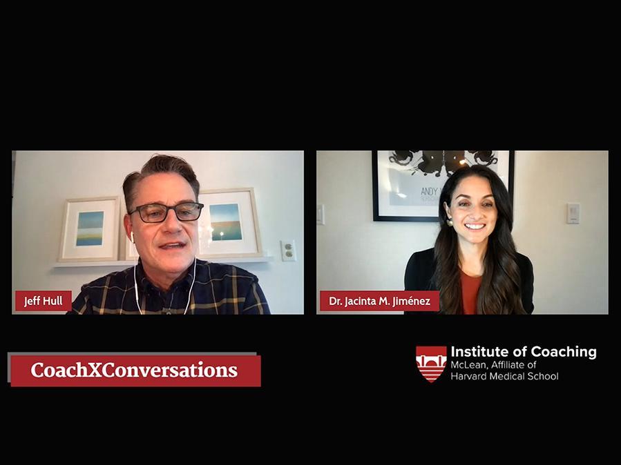 LinkedIn Live Screenshot of Jeffrey Hull & Jacinta Jimenez CoachXConversation
