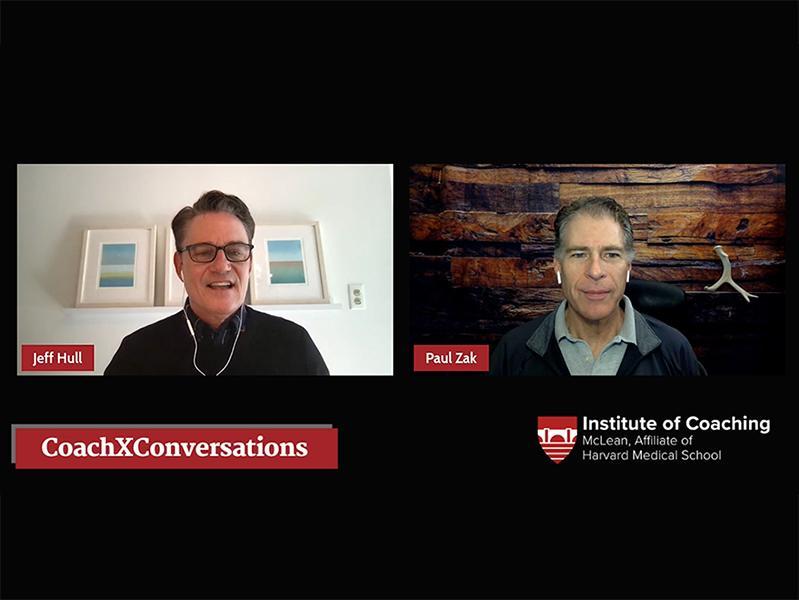 LinkedInLive Screenshot of Jeffrey Hull & Paul Zak CoachXConversation