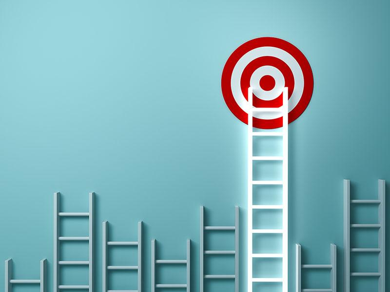 Longest ladder glowing and aiming high to goal target