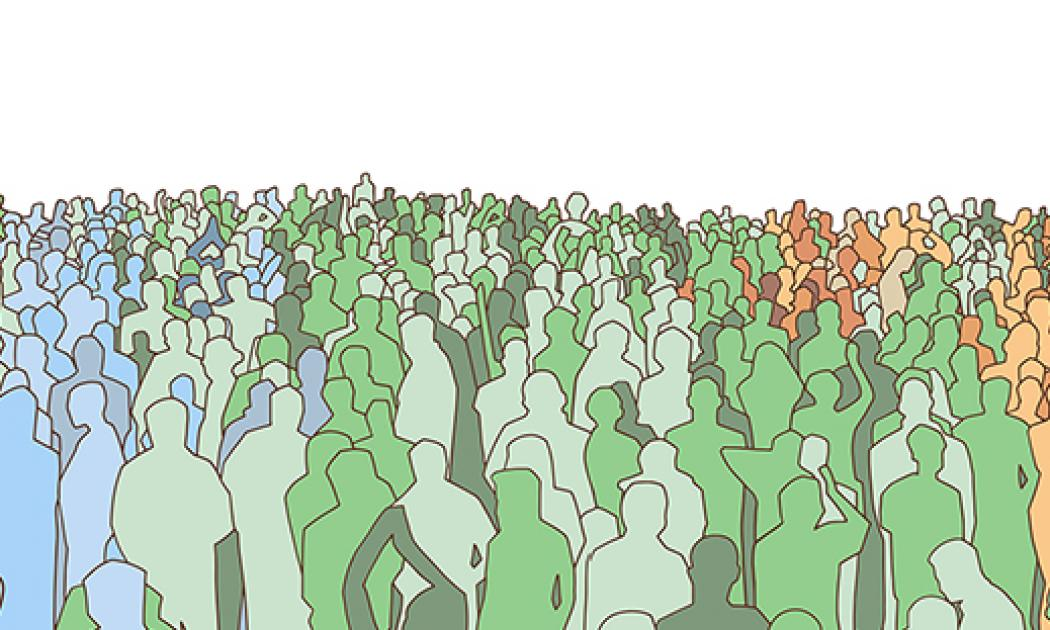 Illustration of large mass of people from wide angle in color