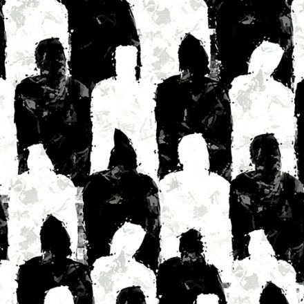 Impressive 3d rendering of a wall made of standard black and white unisex people dressed in raincoats and hoods. They look soulless and thought provoking.