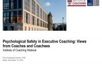Psychological Safety in Executive Coaching