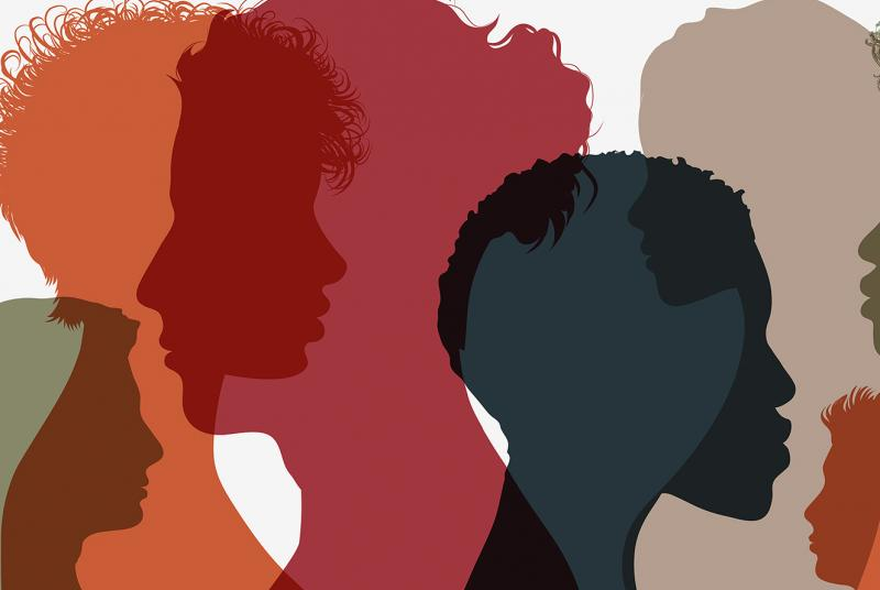 Close up of diverse faces with colorful overlays